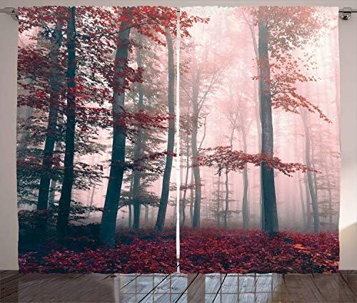 ABAKUHAUS Foresta Tenda, Autumn Fall Nature Woods, Due Pannelli Set per la Casa Nuova, 280 x 225 cm, Rosso Grigio E Marrone