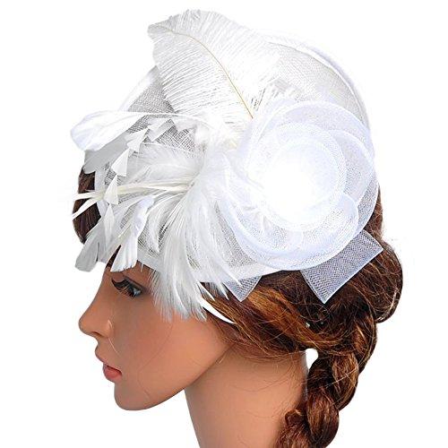 Amyove Lady Elegant Hat Feather Flower Headdress Hair Ornaments for Wedding