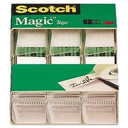 Scotch Magic Tape , 3/4 x 300 Inches (3105), Pack of 9