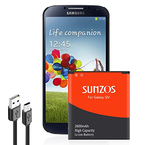 Galaxy S4 Battery, SUNZOS 2600mAh Replacement Battery Compatible with Samsung Galaxy S4, [M919,I9500, R970, I9505(T-Mobile),I337(at&T),I545(Verizon),L720(Sprint), Galaxy S4 LTE I9506] 3 Years Warranty