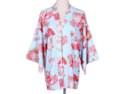 Plaid&Plain Women's Yukata Sakura Cat Haori Coat Party & Daily Dress 4 Colour Blue Freesize - Haori Jacket