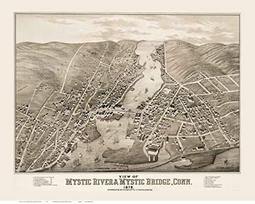 Mystic River and Mystic Bridge Connecticut - 1879 - Birds Eye View -
