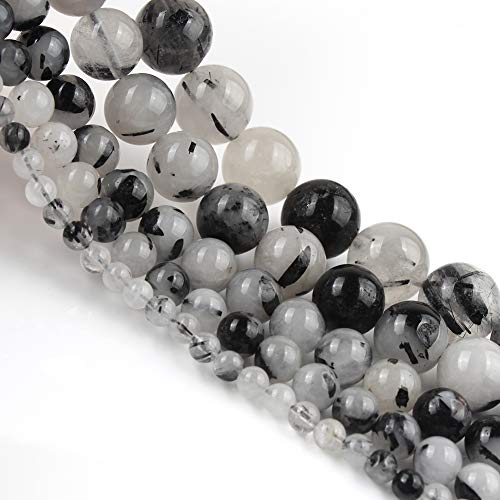 Yochus 10mm Black Tourmalated Rutilated Quartz Round Loose Beads Natural Stone Beads for Jewelry Making