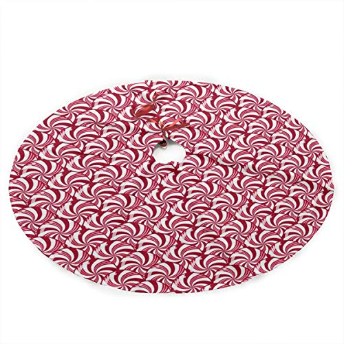 (Christmas Peppermint Candy Scales Christmas Tree Skirt with Santa, Xmas Tree Decorations Skirts Holiday Ornaments with Double Edges)