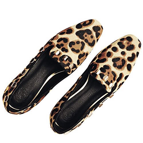 Leopard Woman Quadrata Low Punta On Abito Slip Rismart Scarpe Pompe Top 1ZO77qS