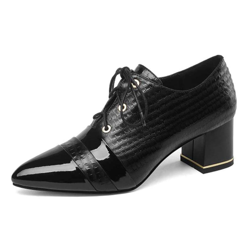 Black Women's Leather high Heels, Women's Single shoes with Thick and Low Heels, Comfortable and Breathable Wild Oxford shoes