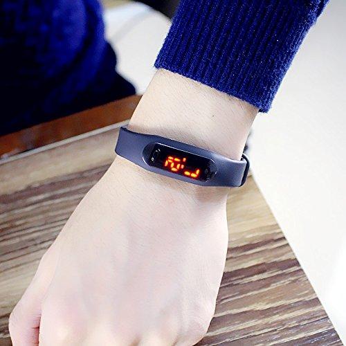(Electronic Watch Creative led Watch Men Watch Men's Sports Student Slim Soft Jelly Bracelet Bangle Women Girls Watch not Waterproof (Black)