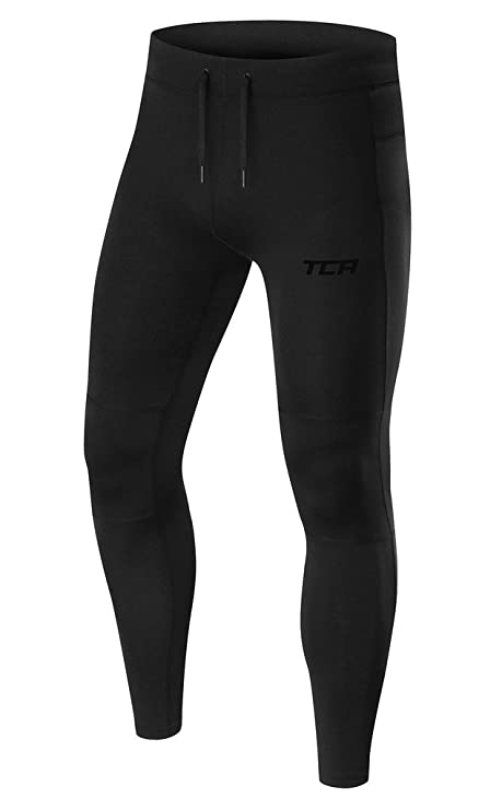 e303f63f0459a TCA Men's Power Running Tights with Zip Pockets and Hems - Black/Black, S