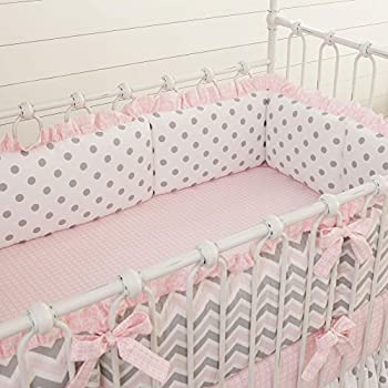 Image of Baby Carousel Designs Pink and Gray Chevron Crib Bumper