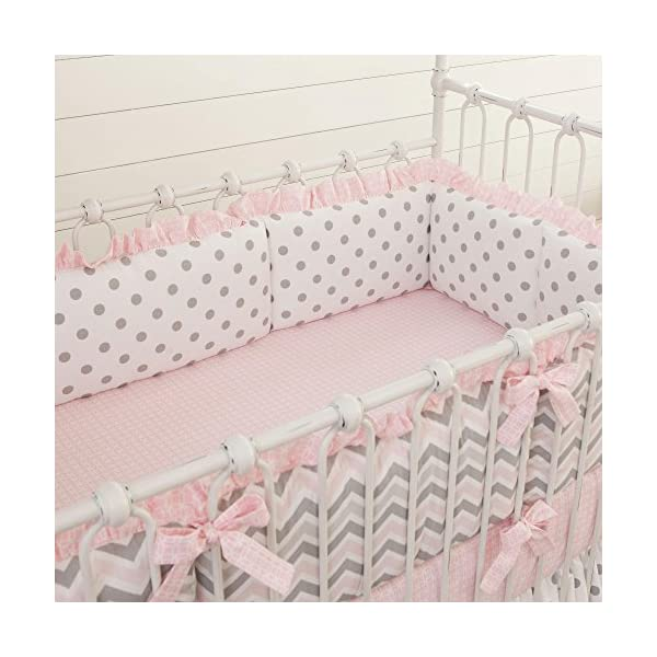 Carousel Designs Pink and Gray Chevron Crib Bumper