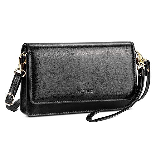 - Womens Small Crossbody Bags Premium Leather Purses and Handbags Wristlet Wallet with Phone Pocket and Card Slots, Black