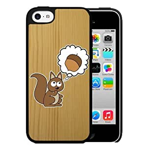 Cute Squirrel Thinking About Nuts with Light Brown Wood Pattern Background Hard Snap on Cell Phone Case iPhone (5c)