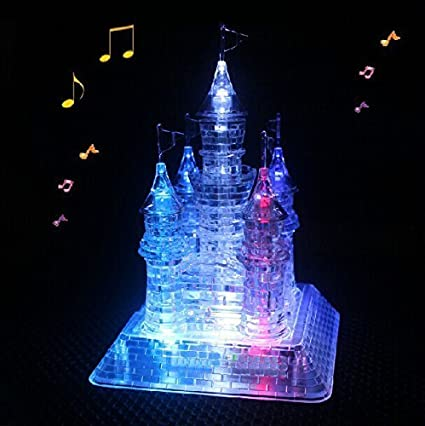 Light Up Pyramid 3D Crystal Puzzle Kids Childrens Activity Toy Fun Play Game NEW