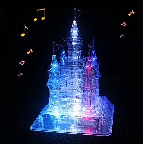 (WAYCOM 3D Crystal Castle Puzzle - 3D Jigsaw, Light-Up Musical,105pcs)