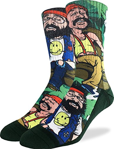 Good Luck Sock Mens Cheech & Chong on Couch Crew Socks - Adult Shoe Size 8-13