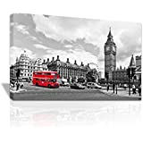 Black And White London Landscape Red Bus Framed Canvas Print X-Mas Gift - C097 by Vinyl Graphics Online Ltd