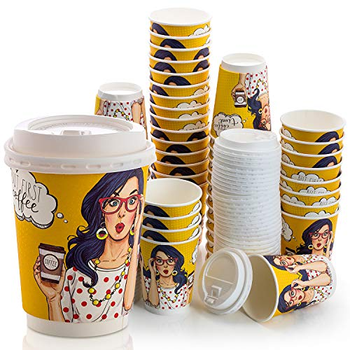 Disposable Hot Paper Coffee Cups With Lids 12 Oz (Buy 3 Pack Pay For 2) 50 Double Wall Quality with Leak-Proof Lids. Cold/Hot Beverage Design Travel Cups To-Go.