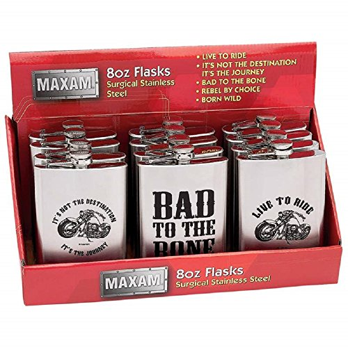Maxam® 12 Piece 8 Ounce Stainless Steel Flasks in Counter-top Display ()