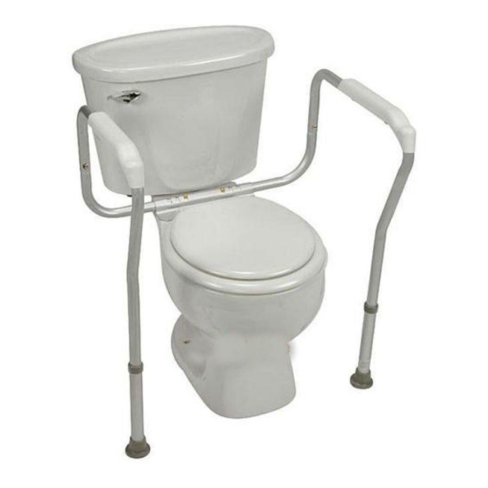 ALUMINUM TOILET SAFETY FRAME BATHROOM SAFETY HAND RAILS WITH ADJUSTABLE HEIGHT by Unknown