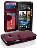 Cadorabo Book Case Works with HTC ONE M7 (1. Gen.) in Bordeaux Purple - with Magnetic Closure and 3 Card Slots - Wallet Etui Cover Pouch PU Leather Flip