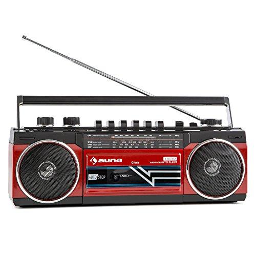 auna Duke Boombox Radiorekorder (USB-SD-Slot, Bluetooth, Kassettendeck, FM-Radio, tragbar, im 80er Jahre Retro-Design) rot