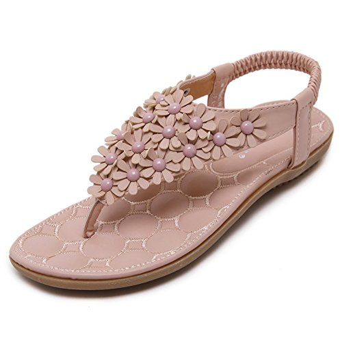 Meeshine Summer T-Strap Flip Flops Flower Beaded Elastic Slip On Flat Sandals(9 B(M) - Beaded Pink Sandals