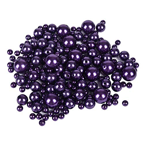- Z-synka Assorted Plastic Bead Pearls,DIY Jewelry Necklaces, Table Scatter, Wedding, Birthday Party Home Decoration, Event Supplies (8 Ounce Pack, 100 Pieces) (Purple, 8mm/14mm/20mm)