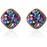 Jane Stone Fashion Resin Square Colorful Faux Druzy Stone Blue Stud Earrings for Women and Teens(E0630-Blue)