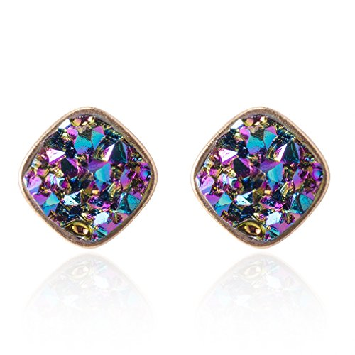 Jane Stone Fashion Resin Square Colorful Faux Druzy Stone Blue Stud Earrings...