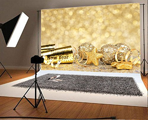 (Laeacco 7x5FT Vinyl Backdrop Photography New Years Eve Border Confetti and Golden Decorations Twinkling Gold Background Backdrop Christmas Balls Stars Bokeh Effect Background Photo Studio Props)