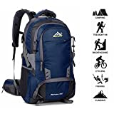 Newpurslane 50L Mens Outdoor Waterproof Breathable Sports Backpack Travel Hiking Camping Rucksack Bike Bag With Rain Cover Best Holiday Gifts (Dark blue)