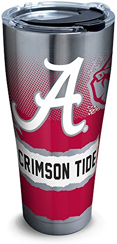 Alabama Crimson Tide Ice - Tervis 1268409 Alabama Crimson Tide Knockout Stainless Steel Tumbler with Clear and Black Hammer Lid 30oz, Silver