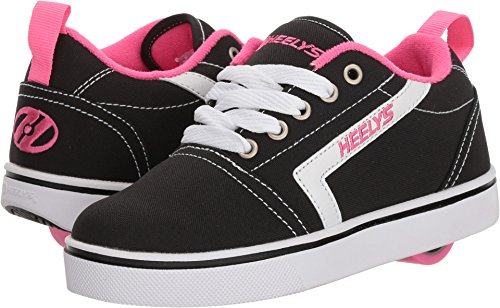 Heelys Girls' GR8 Tennis Shoe, Black/White/Pink, 1 M US Big Kid
