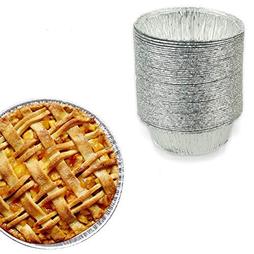 5 Inch Round Pie Tart Tin Foil Pans - Freezer & Oven Safe Disposable Aluminum - For Baking, Cooking, Storage & Reheating - Pack of 50 by yajing
