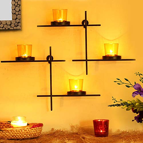 TIED RIBBONS Set of 2 Wall Hanging Tealight Candle Holder with 4 Tealight Glasses for Christmas Light Decoration(Black and Yellow)