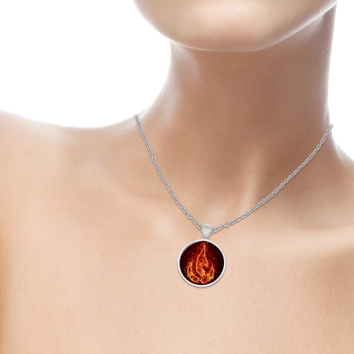 Family Decor Fire Nations Symbol Pendant Necklace Cabochon Glass Vintage Bronze Chain Necklace Jewelry Handmade