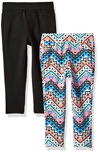 One Step Up Toddler Girls' 2 Pack French Terry Jegging, Pink swizzle/Black, 3T by One Step Up