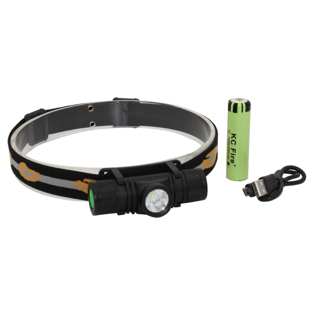 KC Fire LED Headlamp, USB Rechargeable, Professional Ultra-Bright 1000 Lumens, MX-L2 LED Waterproof Headlight (Camping, Hiking and Dog Walking), 3 Light Modes, 18650 Battery Included