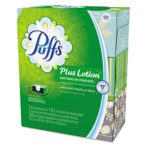 Puffs 82086CT Swiffer Plus Lotion Facial Tissue, 2-Ply, 116 per Box, White (Pack of 3)