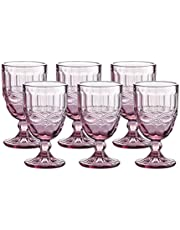 Gala Houseware Colored Water Glasses 6-Piece Set, 8.5 oz Premium Heavy Wine Drinking Goblet, Solid Glass Color