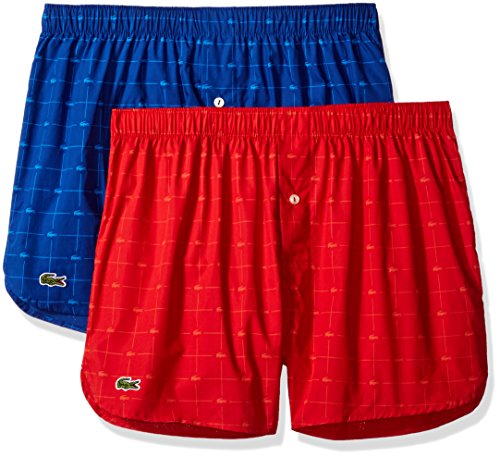 Lacoste Men's 2-Pack Authentic Woven Boxer, Mazarine Blue/Pompeiin Red, X-Large