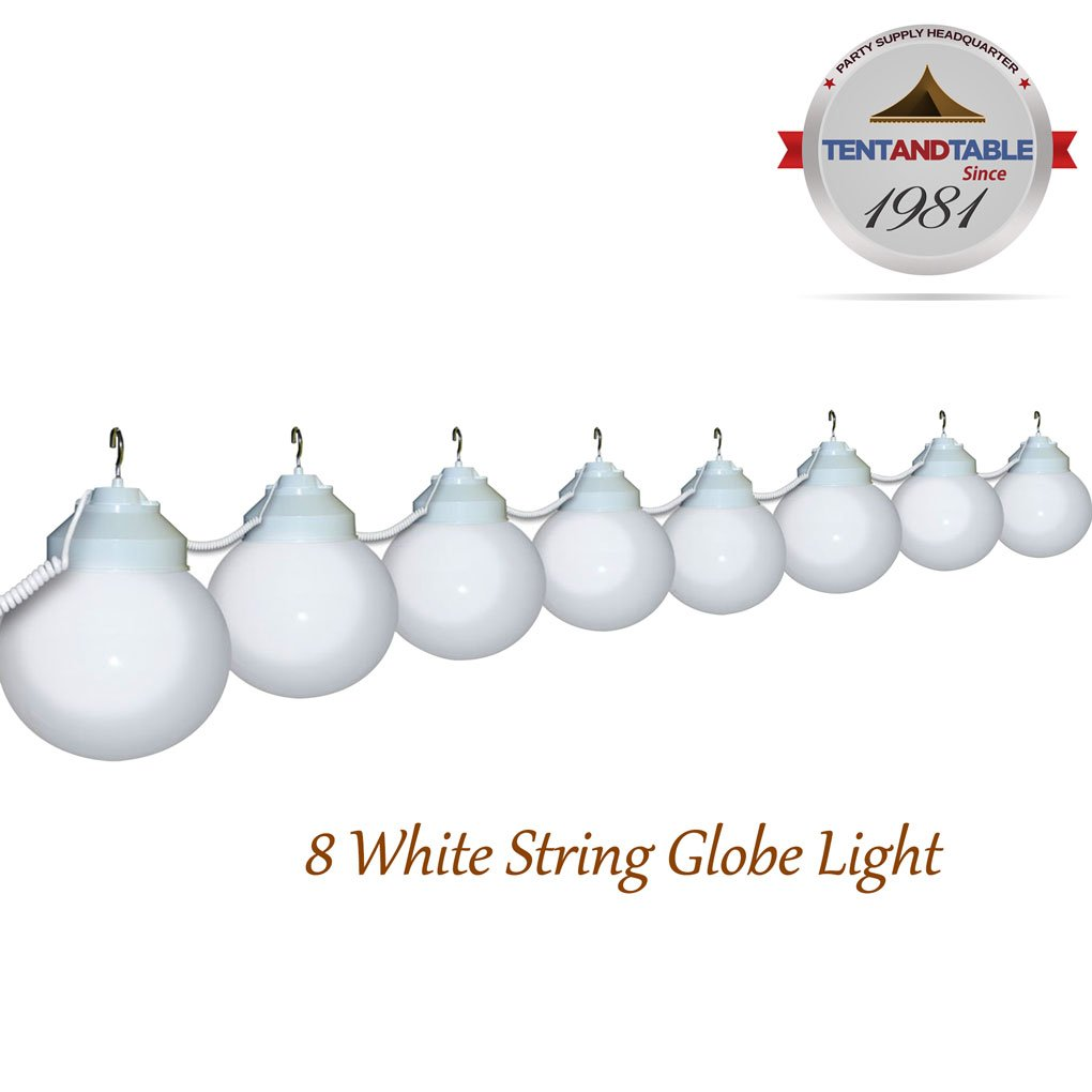 TentandTable 8 Globe White Color String Lights Designed for Lighting Outdoor Parties and Events
