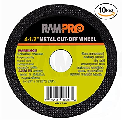 "RamPro 4-1/2"" Metal Cut-Off Wheel Blades, Abrasive Arbor Grinder Discs Ideal for Cutting, Grooving, Sanding and Trimming Ferrous Metal & Steel."