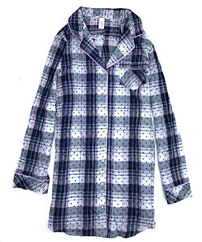 (Victoria's Secret Women's Flannel Cotton Modal Sleepshirt Pajamas Purple Blue Polka Dot)