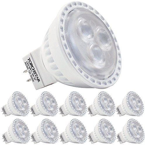 TORCHSTAR TSMH-MR11-03W-10P50 AC/DC3W MR11 LED Bulb for Home, Recessed, Accent, Track Lighting, 5000 K, Daylight LED Spotlight, 35W Equivalent, GU4 Base, 30 Degree Beam Angle12V (Pack of 10) by TORCHSTAR