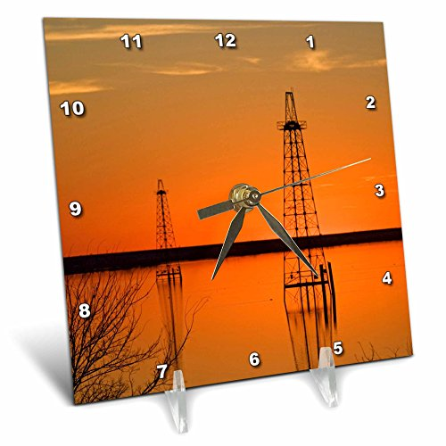 3dRose dc_94465_1 Oil Well Derricks, industry, Lake Arrowhead, Texas US44 LDI0004 Larry Ditto Desk Clock, 6 by 6-Inch