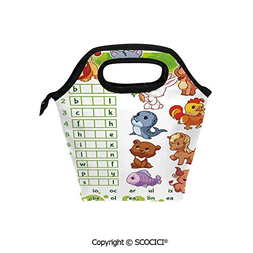 Lightweight Portable Picnic tote lunch Bags Rebus Game with Animals for Preschool Kids Find Correct Part of Words Decorative lunch bag for Employee student Worker. -