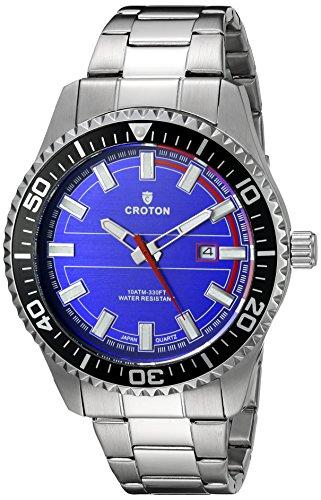 Croton Mens Quartz Watch - CROTON Men's CA301289SSBL Analog Display Quartz Silver Watch