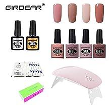 Girdear Soak Off Gel Nail Polish Kit, with SUNMini LED Lamp, 10pcs Removers & 10 Pcs Cleanser Wraps, Buffer Files, and Base Top Coat Set 4 Colors Nail Art Gift DIY Set #C021