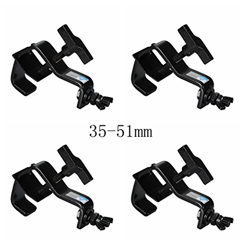 Stage Light Clamp Aluminum Mounting 1.38-2.01inch (35-51mm) OD Tubing/Pipe for Led Par Light Max Load 90lb(4pcs)